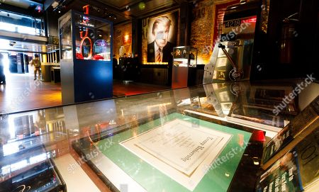 A diploma from Trump University on display in Andres Serrano's installation 'The Game: All Things Trump', a display of over 1,000 pieces of Donald Trump-related memorabilia and souvenirs collected by Serrano, in New York, New York, USA, 25 April 2019. The items in the installation, which Serrano purchased over the past year at auctions and on eBay, span from Trump's early days in the New York, to his days on television and up to the present day.