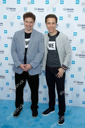 Stock Image of Craig Kielburger and Marc Kielburger arrive for WE Day California at the Forum in Inglewood, California, USA 25 April 2019. WE Day is the worlds largest youth empowerment event combining the energy of a live concert with the inspiration of extraordinary stories of leadership and change. WE Day California will bring together world-renowned speakers and award-winning performers to celebrate the tens of thousands of young people from across California who have made a difference in their community.