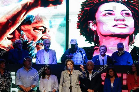 Brazilian former president Dilma Rousseff (C) speaks at an event where she demanded freedom for Brazilian former president Luiz Inacio Lula da Silva, in Buenos Aires, Argentina, 25 April 2019. Luiz Inacio Lula da Silva has been in detention for over one year.