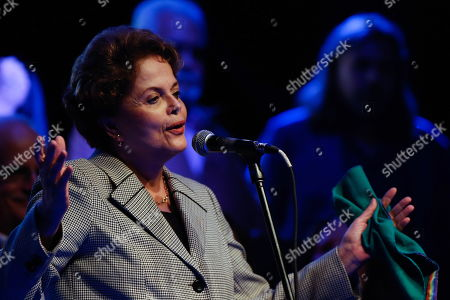 Brazilian former president Dilma Rousseff speaks at an event where she demanded freedom for Brazilian former president Luiz Inacio Lula da Silva, in Buenos Aires, Argentina, 25 April 2019. Luiz Inacio Lula da Silva has been in detention for over one year.