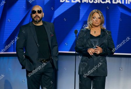 Lupillo Rivera, Ana Maria Polo. Lupillo Rivera, left, and Ana Maria Polo present the award for new artist of the year at the Billboard Latin Music Awards, at the Mandalay Bay Events Center in Las Vegas