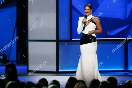 Gaby Espino speaks at the Billboard Latin Music Awards, at the Mandalay Bay Events Center in Las Vegas