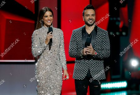 Gaby Espino, Luis Fonsi. Gaby Espino, left, and Luis Fonsi speak at the Billboard Latin Music Awards, at the Mandalay Bay Events Center in Las Vegas