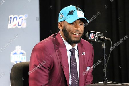 Stock Photo of Florida State defensive end Brian Burns speaks at a press conference after the Carolina Panthers selected Burns in the first round of the NFL Draft, in Nashville, Tenn
