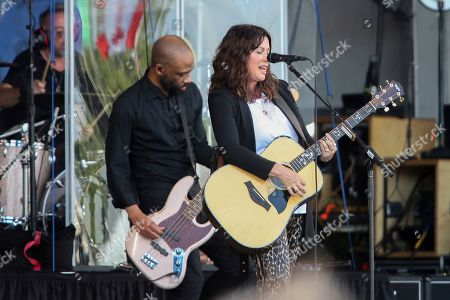 Alanis Morissette performs at the Gentilly Stage at the New Orleans Jazz & Heritage Festival in New Orleans