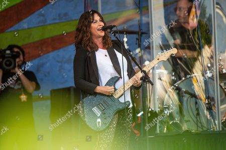 Alanis Morissette performs at the New Orleans Jazz and Heritage Festival, in New Orleans