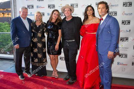 Mack Brown, Sally Brown, Amy Ingram, Jack Ingram, Camila Alves, and Matthew McConaughey