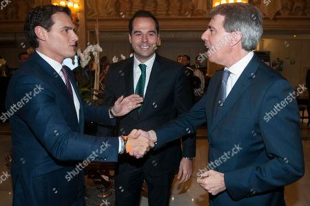 Stock Photo of Albert Rivera, Ignacio Aguado and Angel Garrido, yesterday left the Popular Party (PP) to join the party Ciudadanos