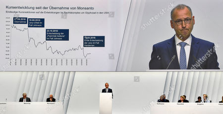 CEO Werner Baumann delivers a speech during the annual general meeting of the Bayer stock company in Bonn, Germany, . Following the record acquisition of U.S. biotech and seed company Monsanto, Bayer's agricultural business has become a risk for the German chemical company. Bayer is facing enormous cost if the U.S. court will find Monsanto's glyphosate to be causing cancer. Since the take-over of Monsanto in June 2018, Bayer lost around half of its value in market capitalization
