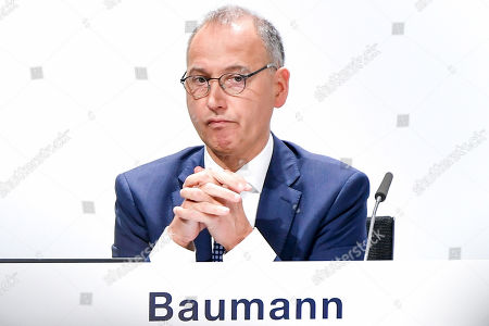 Stock Picture of Werner Baumann, CEO of German pharmaceutical company Bayer, reacts during the annual shareholders' meeting of Bayer AG at the World Conference Center (WCC) in Bonn, Germany, 26 April 2019. The company said the Bayer Group achieved a strong start to the year in its operational business. Sales of Bayer in the first quarter rose by 4.1 per cent on a currency- and portfolio-adjusted basis to 13.015 billion euros. EBIT declined by 15.6 per cent to 1.950 billion euros, after net special charges of 1.050 billion euros. The principal charges concerned were a total of 492 million euros in connection with the acquisition and integration of Monsanto, and 393 million euros pertaining to the announced restructuring. Net income declined by 36.5 per cent to 1.241 billion euros due to high special charges. Bayer's free cash flow almost doubled to 508 million euros.