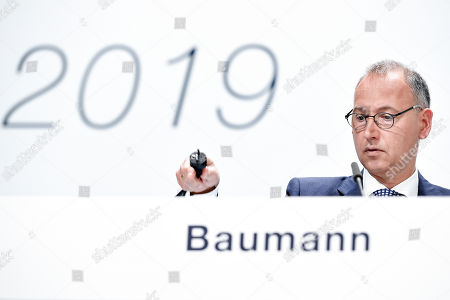 Werner Baumann, CEO of German pharmaceutical company Bayer, reacts during the annual shareholders' meeting of Bayer AG at the World Conference Center (WCC) in Bonn, Germany, 26 April 2019. The company said the Bayer Group achieved a strong start to the year in its operational business. Sales of Bayer in the first quarter rose by 4.1 per cent on a currency- and portfolio-adjusted basis to 13.015 billion euros. EBIT declined by 15.6 per cent to 1.950 billion euros, after net special charges of 1.050 billion euros. The principal charges concerned were a total of 492 million euros in connection with the acquisition and integration of Monsanto, and 393 million euros pertaining to the announced restructuring. Net income declined by 36.5 per cent to 1.241 billion euros due to high special charges. Bayer's free cash flow almost doubled to 508 million euros.