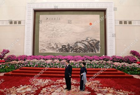 Chinese President Xi Jinping (L) and his wife Peng Liyuan (R) await leaders to attend a welcoming banquet for the Belt and Road Forum at the Great Hall of the People in Beijing, China, 26 April 2019. Beijing hosts the Second Belt and Road Forum for International Cooperation