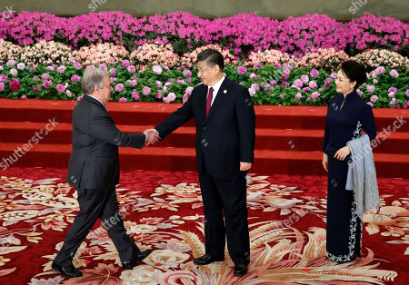 United Nations Secretary General Antonio Guterres (L) is welcomed by Chinese President Xi Jinping (C) and his wife Peng Liyuan for a welcoming banquet at the Belt and Road Forum at the Great Hall of the People in Beijing, China, 26 April 2019. Beijing hosts the Second Belt and Road Forum for International Cooperation