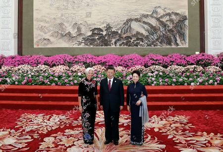 International Monetary Fund (IMF) Managing Director Christine Lagarde (L) is welcomed by Chinese President Xi Jinping (C) and his wife Peng Liyuan for a welcoming banquet at the Belt and Road Forum at the Great Hall of the People in Beijing, China, 26 April 2019. Beijing hosts the Second Belt and Road Forum for International Cooperation