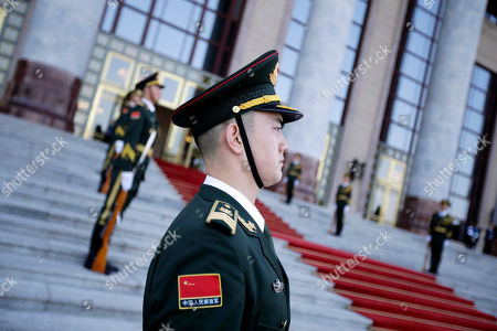 Members of Chinese honor guard prior a welcoming banquet at the Belt and Road Forum at the Great Hall of the People in Beijing, China, 26 April 2019. Beijing hosts the Second Belt and Road Forum for International Cooperation