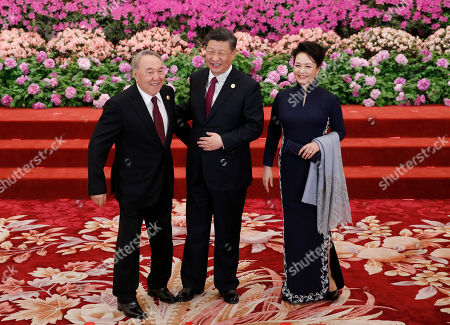 Kazakhstan's President Nursultan Nazarbayev (L) is welcomed by Chinese President Xi Jinping (C) and his wife Peng Liyuan for a welcoming banquet at the Belt and Road Forum at the Great Hall of the People in Beijing, China, 26 April 2019. Beijing hosts the Second Belt and Road Forum for International Cooperation