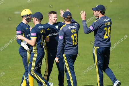 Mason Crane and Hampshire celebrate the wicket of James Bracey during the Royal London 1 Day Cup match between Hampshire County Cricket Club and Gloucestershire County Cricket Club at the Ageas Bowl, Southampton
