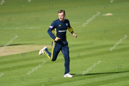 Mason Crane of Hampshire celebrates the wicket of James Bracey during the Royal London 1 Day Cup match between Hampshire County Cricket Club and Gloucestershire County Cricket Club at the Ageas Bowl, Southampton