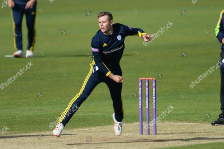 Mason Crane of Hampshire bowling during the Royal London 1 Day Cup match between Hampshire County Cricket Club and Gloucestershire County Cricket Club at the Ageas Bowl, Southampton
