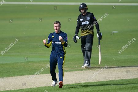 Mason Crane of Hampshire celebrates the wicket of Benny Howell during the Royal London 1 Day Cup match between Hampshire County Cricket Club and Gloucestershire County Cricket Club at the Ageas Bowl, Southampton