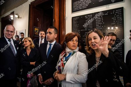 Italian Deputy Premier and Labour and Industry Minister Luigi Di Maio, Head of Rome's Jewish community Ruth Dureghello, Minister of Health Giulia Grillo at the Synagogue during the tribute to the memorial plaque of the Jewish Brigade