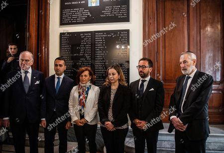 President of World Jewish Congress Ronald Lauder, Deputy Premier and Labour and Industry Minister Luigi Di Maio, Head of Rome's Jewish community Ruth Dureghello, Minister of Health Giulia Grillo, Minister of Justice Alfonso Bonafede, Chief Rabbi Riccardo Di Segni at the Synagogue during the tribute to the memorial plaque of the Jewish Brigade