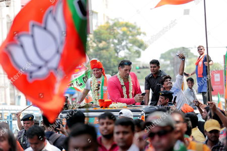 Editorial picture of Bharatiya Janata Party (BJP) activists participate a rally, Kolkata, India - 26 Apr 2019