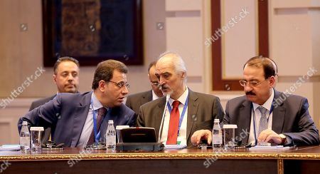 Bashar Jaafari (C), Syria's permanent representative to the UN, attends the 12th round of talks on the Syrian conflict settlement in Nur-Sultan, Kazakhstan, 26 April 2019. The peace talks on Syria backed by Russia, Turkey, and Iran take place in the Kazakh capital on April 25-26, 2019.
