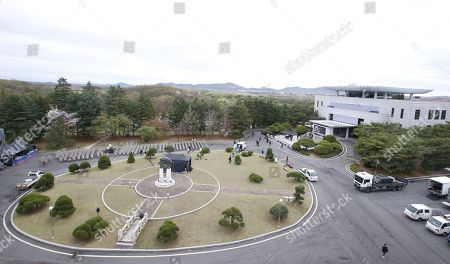 A general view on the Peace House during a rehearsal for a Peace Performance to celebrate the First Anniversary of the Panmunjeom Declaration at the truce village of Panmunjom, Joint Security Area (JSA) of the Korean Demilitarized Zone (DMZ), 26 April 2019. The Panmunjom Declaration was adopted during the inter-Korean summit on 27 April 2018 aimed at cooperating on officially ending the Korean War and the Korean conflict, as well as includes the denuclearization of the Korean Peninsula.