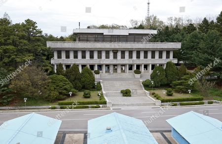 An exterior view on the North Korean Phanmun Pavilion of the Joint Security Area (JSA) during a rehearsal for a Peace Performance to celebrate the First Anniversary of the Panmunjeom Declaration at the truce village of Panmunjom, Joint Security Area (JSA) of the Korean Demilitarized Zone (DMZ), 26 April 2019. The Panmunjom Declaration was adopted during the inter-Korean summit on 27 April 2018 aimed at cooperating on officially ending the Korean War and the Korean conflict, as well as includes the denuclearization of the Korean Peninsula.