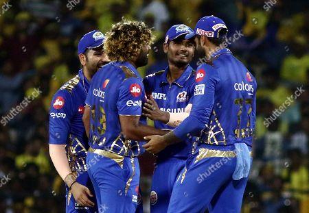 Lasith Malinga, Rohit Sharma, Krumal Pandya of the Mumbai Indians celebrate after taking the wicket of Shane Watson Chennai Super Kings during the VIVO IPL T20 cricket match between Chennai Super Kings and Mumbai Indians in Chennai, India