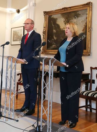 Irish Tanaiste Simon Coveney and Northern Ireland Secretary Karen Bradley hold a press conference at Stormont House in east Belfast after the British and Irish governments issue a joint statement that talks to get the Northern Ireland Assembly up-and-running will begin in May.