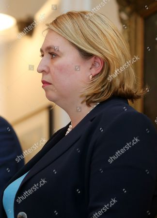 Northern Ireland Secretary Karen Bradley at a press conference at Stormont House in east Belfast after the British and Irish governments issue a joint statement that talks to get the Northern Ireland Assembly up-and-running will begin in May.