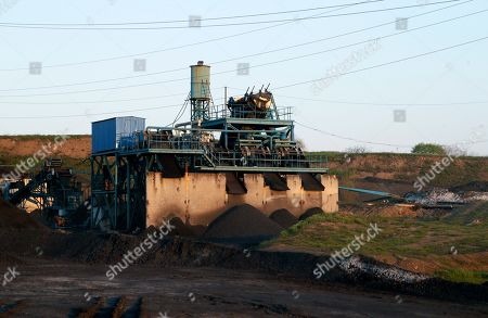 Stock Picture of General view of the 'Shidcarbon' coal mine close to the pro-Russian militants controlled Yuryevka village of Luhansk area, Ukraine, 26 April 2019. By this moment dead bodies of 5 miners killed in the explosion had been found, and the destiny of twelve more remains unknown.