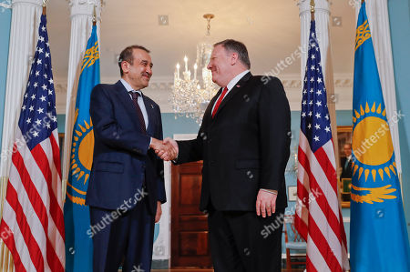 Mike Pompeo, Karim Masimov. Secretary of State Mike Pompeo, right, meets with Kazakhstani National Security Committee Chairman Karim Masimov, left, at the State Department in Washington