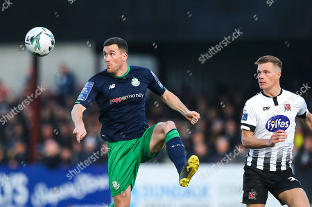 Dundalk vs Shamrock Rovers. Rovers' Aaron Greene and Daniel Cleary of Dundalk