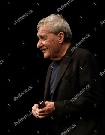 Italian singer Paolo Conte attends an interview at the Strehler theater in Milan, Italy