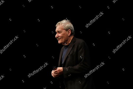 Stock Picture of Italian singer Paolo Conte attends an interview at the Strehler theater in Milan, Italy