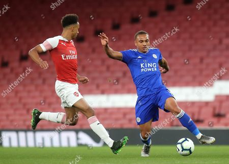 Layton Ndukwu of Leicester City takes on Arsenal's Cohen Bramall during Arsenal Under-23 vs Leicester City Under-23, Premier League 2 Football at the Emirates Stadium on 26th April 2019