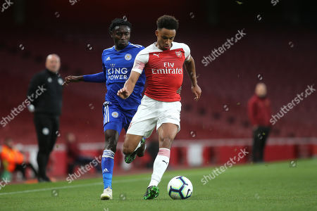 Cohen Bramall of Arsenal shields the ball from Leicester's Lamine Kaba Sherif during Arsenal Under-23 vs Leicester City Under-23, Premier League 2 Football at the Emirates Stadium on 26th April 2019