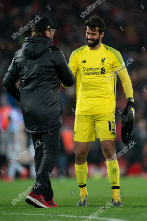 Liverpool manager Jurgen Klopp congratulates Liverpool's Alison Becker at the end of the match Terry Donnelly/Mercury Press The Premier League - Liverpool v Huddersfield Town - Friday 26th April 2019 - Anfield - Liverpool