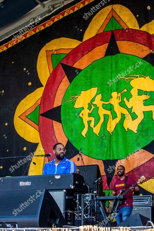 PJ Morton performs at the New Orleans Jazz and Heritage Festival, in New Orleans
