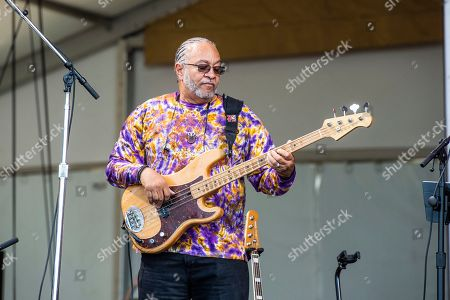 George Porter Jr. of the Foundation of Funk performs at the New Orleans Jazz and Heritage Festival, in New Orleans