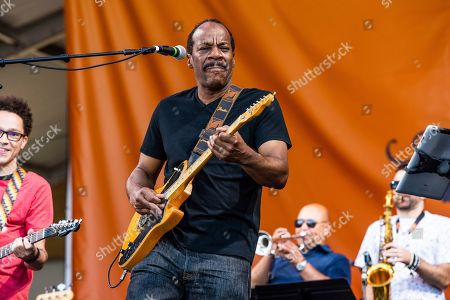 Tony Hall of the Foundation of Funk performs at the New Orleans Jazz and Heritage Festival, in New Orleans