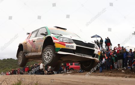Bolivian Marco Bulacia Wilkinson and his Argentinian co-pilot Fabian Cretu drive their Skoda Fabia R5 during the first day of the Argentina Rally, in Las Bajadas, Cordoba, Argentina, 26 April 2019.
