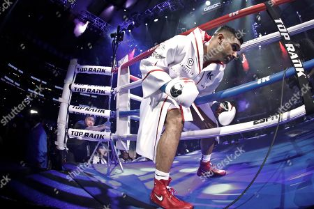England's Amir Khan before a WBO world welterweight championship boxing match against Terence Crawford, in New York. The referee stopped the fight after Kahn was unable to continue after a low blow in the fifth round