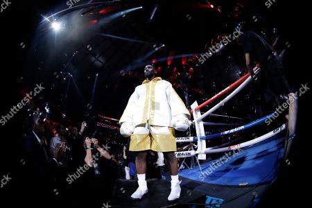 Terence Crawford before a WBO world welterweight championship boxing match against England's Amir Khan, in New York. The referee stopped the fight after Kahn was unable to continue after a low blow in the fifth round