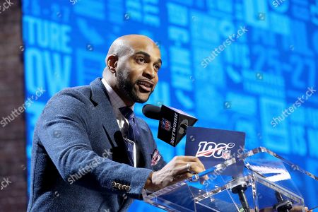 Stock Picture of Former New York Giants player David Tyree announces the Giants' third round pick at the NFL football draft, in Nashville, Tenn. on