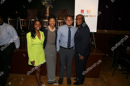Manager of HBCU Strategy, Jessica Taylor ; SCF and Howard University alum Carmin Wong; high school senior bus tour participant Andrew Melendez-Johnson; and SCF Co-Founder and President, Gloria Carter.
