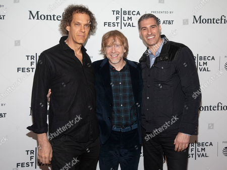 "Steven Cantor, Trey Anastasio, Jamie Schutz. Steven Cantor, from left, Trey Anastasio and Jamie Schutz attend the screening for ""Between Me and My Mind"" during the 2019 Tribeca Film Festival at the Beacon Theatre, in New York"